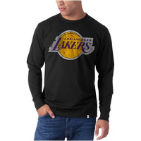 47 Brand Los Angeles Lakers Flanker Long Sleeve T-Shirt - Black
