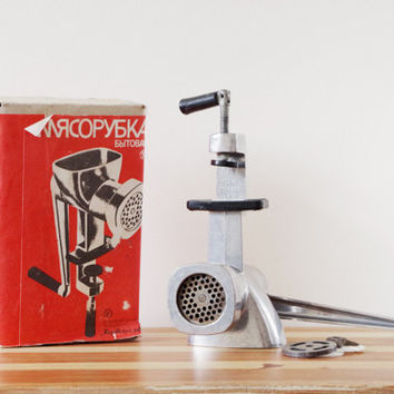 Retro Vintage USSR Soviet Aluminum Metal Meat Grinder Mincer Dicer Cookie Maker Juicer Juice Press kitchen tool appliance