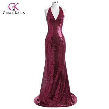 Grace Karin Evening Dress 2018 Halter V Neck Floor Length Sequin Gowns Formal Sparkly Backless Mermaid Party Dress Abendkleider