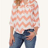Chevron Pleated Pocket Mandarin Pullover