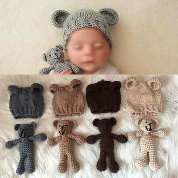 Cute Set Photography Prop Photo Crochet Bear and Hat Set Handmade Newborn Photography Studio Booth Props Baby Shower Gift