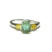 Peridot Green Crush Ring, Oval Stone Accent Ring,Mystic Green Topaz, Anniversary Ring