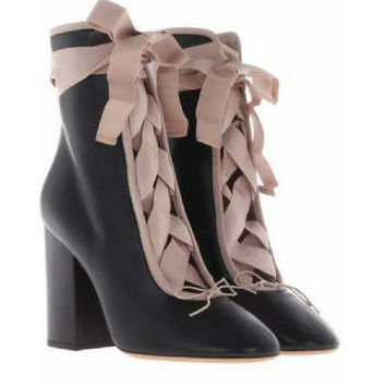 Valentino Garavani Black lace-up boots