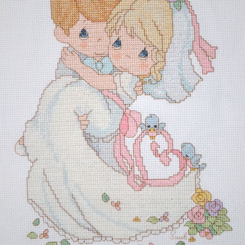 Precious Moments - To Have And To Hold (Wedding) - FINISHED Counted Cross Stitch
