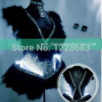 New 2015 Women Black White Purple Feather Rhinestones Led Bodysuit Sexy Led Lights Costumes For Dancing / Led Light Suit Macchar Cosplay Catalogue