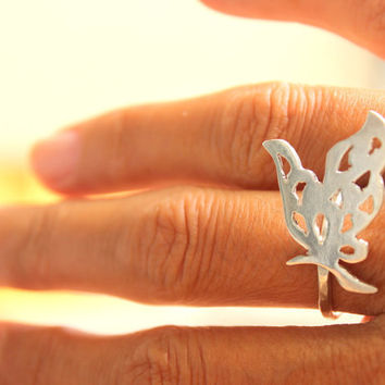Butterfly Ring Woodland Sterling Silver Hammered Band Everyday Jewelry Everyday Ring