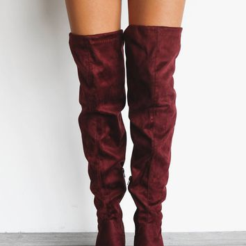Take Me Out Wine Suede Knee High Boots
