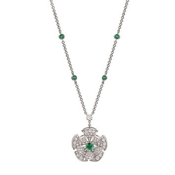 Bvlgari White Gold Emerald and Pavé Diamond Divas' Dream Necklace | Harrods.com