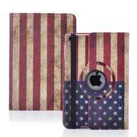 SANOXY Vintage USA Flag PU Leather Case With 360 degrees Rotating Swivel Stand for Apple iPad mini (Supports Auto Sleep/Wake Features)