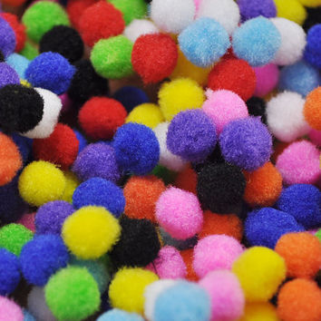 100pcs-10mm Mix Color Polyester Pom poms -  Pompom - Craft Pom Poms - Ball Pom Poms - doll making - dolls eye accessories.