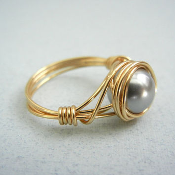 Wire Wrap Ring - Swarovski Grey Pearl - Custom Size Ring