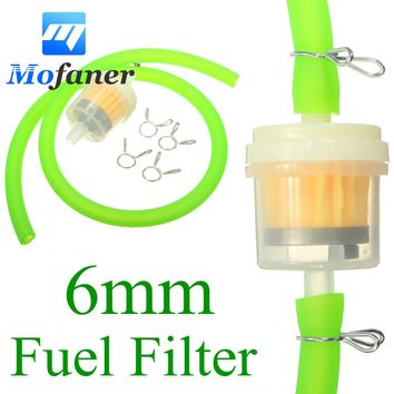 6mm Gas Fuel Filter Petrol Pipe Hose Line + 4 Clips Moto Scooter Dirt Bike Yellow Red Blue Green