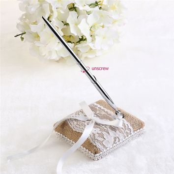 WINOMO Vintage Burlap and Lace Design Rustic Country Pen Set for Wedding