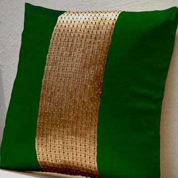 Memorial Day SALE Throw Pillows - Emerald green gold color block in silk sequin bead detail cushion - sequin bead pillow - 16X16 Emerald gre