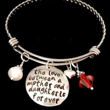 Love Between a Mother and Daughter is Forever: Adjustable Bangle Bracelet With Freshwater Pearl, Heart, and Birthstone. Stackable Bracelet