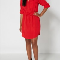 Red Zip Yoke Shirt Dress
