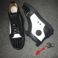 Cl Christian Louboutin Lou Spikes Style #2204 Sneakers Fashion Shoes