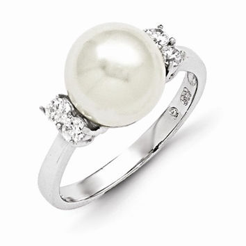 Majestik White Shell Pearl Cubic Zirconia Ring