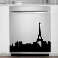 Paris Skyline - Vinyl Dishwasher Art - FREE Shipping - Fun Cityscape Decal