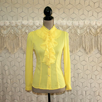 Vintage 70s Yellow Blouse XS Long Sleeve Ruffle Top Puff Sleeves Romantic Boho Button Up Shirt Fitted 1970s Vintage Clothing Womens Clothing