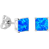 6mm Blue Square Sterling Silver Synthetic Opal Stud Earrings | Body Candy Body Jewelry