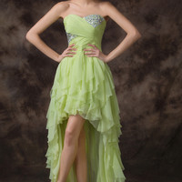 Light Green Wrap Beaded  High-Low Ruffled Cocktail Dress