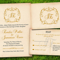 DIY Printable - Vintage Victorian Damask Classic Gold Brown Customizable Wedding Invitation and RSVP Card Suite