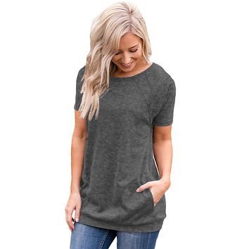 Gray Heathered Short Sleeve Pocket Tee