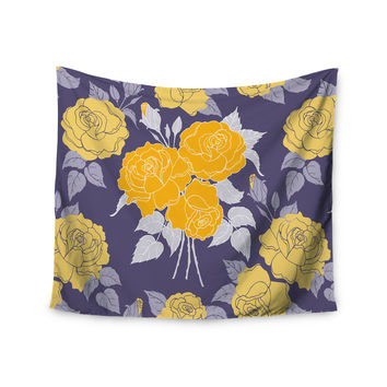 "Anneline Sophia ""Summer Rose Yellow"" Purple Lavender Wall Tapestry"