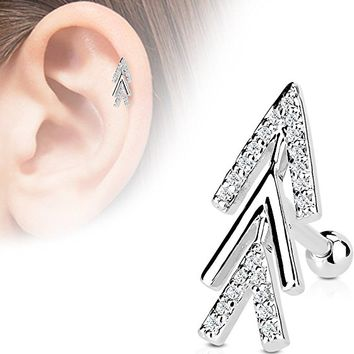 CZ Micro Paved Chevron Arrow Cartilage/Tragus/Ear Stud in 316L Stainless Steel - Available in Multiple Colors