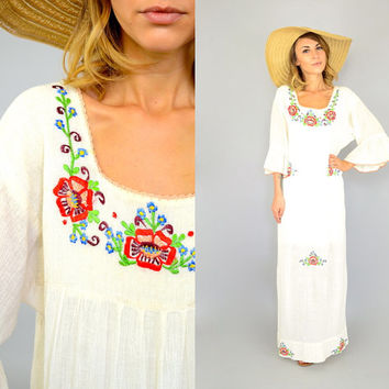 70's India Cotton EMBROIDERED FLORAL hippie goddess boho Trumpet Sleeve maxi DRESS, medium-large