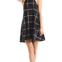 PLAID CUTAWAY NECKLINE SWING DRESS
