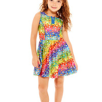 Kids Emoji Rainbow Zip Skater Dress