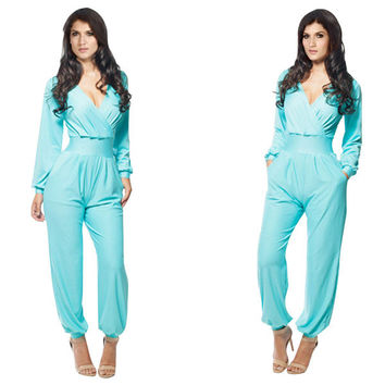 Blue V-Neck Cuff Sleeve Loose Romper
