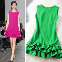 Flouncing Sleeveless Chiffon Mini Princess Dress