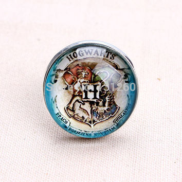 1Pc Art Glass dome silver plated ring Hogwarts Crest Glass cabochon cameo Photo Harry Potter adjustable ring