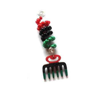 Wire wrapped, Beaded, Hand Painted Comb Africa Dreadlock jewelry, hair accessory, ethnic jewelry