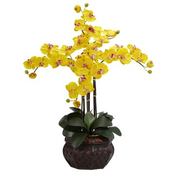 Artificial Flowers -Phalaenopsis With Decorative Vase Flower Arrangement Artificial