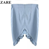 Summer Women's Fashion Rinsed Denim Lace Irregular Skirt [4920001604]