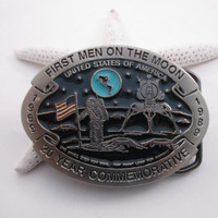 First Men on the Moon Belt Buckle 20 Year Commemorative Moon Landing Free Shipping - FL
