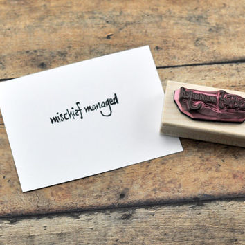 Mischief Managed Rubber Stamp, Hand carved Harry Potter Inspired stamp, Potter Birthday Party Invitation Decor