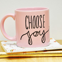 12oz Pink Vintage Choose Joy Lettered Mug