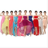 Sell Well  New Evening Dresses Bride Dress Bridesmaids Dresses Short Purplish Tube Top Low-high Formal dress = 1929301252
