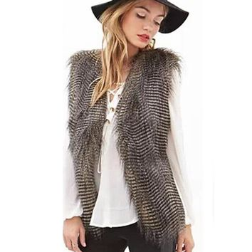 Imitation fur vest plus size winter women faux fur vest peacock feather hairy women's thick warm top coat fur vest women LJLS042