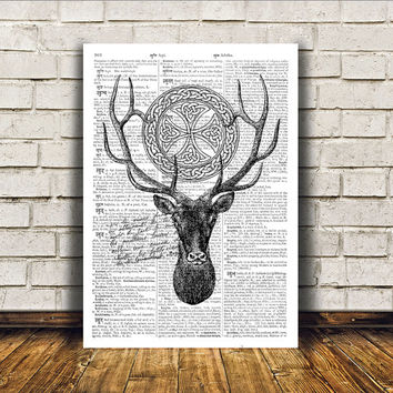 Animal art Deer poster Dictionary print Wall decor RTA102
