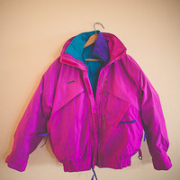 80s 90s Columbia Windbreaker Jacket  Ski Coat Whirlibird 3 in 1 Bomber Magenta Medium Hipster Preppy  Hiking Seattle Style Portland Puffer