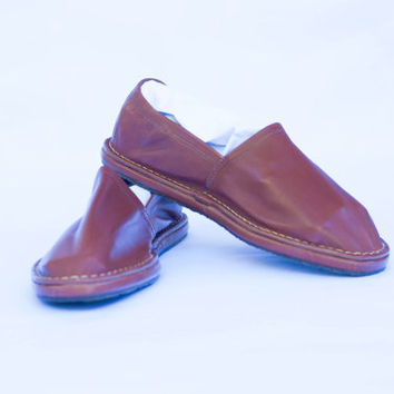 Vintage Genuine Leather Men Handmade Espadrilles Brown Size 45 US 12.
