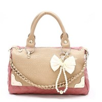 Litchi lattice bowknot woman bag