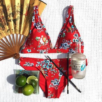 Red Yellow Bikini Floral Swimsuit Female Bather Bathing Suit Women Swimming Suit