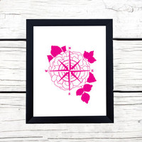 Flower Compass Magenta Graphic Print   Digital Download / Instant Download Wall Decor